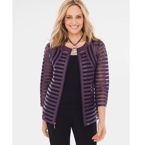 Chico's Purple Black Mesh Striped Blazer Jacket
